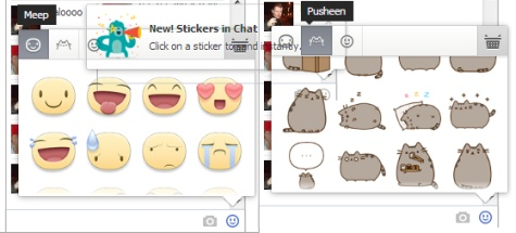 Facebook Stickers Meep and Pusheen