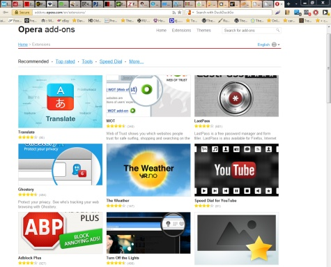 Opera Browser Extensions/Addons/Plugins